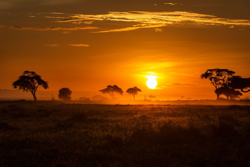 The sun coming up on the beautiful landscape of Amboseli Kenya as captured by landscape photographer Clement Wild