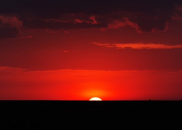 Silhouette of sun setting over the horizon as captured by photo tour leader Clement Wild